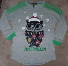 NEW Derek Heart Christmas Holiday Owl Shirt Girls Youth 7 8 S Small NEW NIP