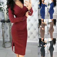 Women Long Sleeve Deep V Neck Bodycon Sweater Dress for Autumn Winter Party