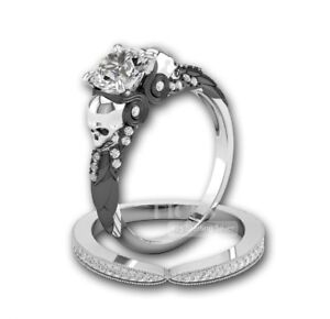 1.59 TCW two tone silver-black owl 925 sterling silver ring set party gift love