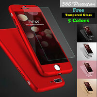 360° Protective Thin Case Cover+Tempered Glass For Apple iPhone 6 6S 7 8 Plus X