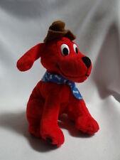 "2000 7"" Clifford Big Red Dog Plush, Stuffed Scholastic. brown Hat blue Scarf"