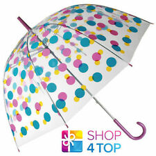 COLORFUL POLKA DOTS CLEAR TRANSPARENT DOME RAIN WOMAN UMBRELLA NOVELTY GIFTS NEW