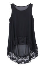 Women Long Tops Plus size Swing Dress Vest Top irregular hem Sleeveless Lace Top