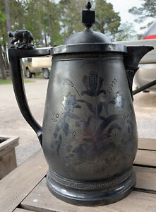 JAS. STIMPSON Silver Plated Ice Water Pitcher Ceramic Liner 1854 Victorian