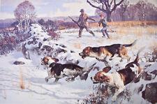 Vintage art Beagles Hunters chasing a Rabbit by Kuhn