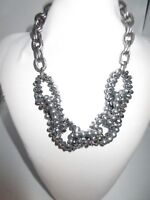 Statement Necklace Collar Braided Gunmetal Gray Crystals Silver Imitation Pearl
