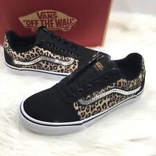 Bling Vans Women's Old Skool Sneakers w/ Swarovski Crystals - Black Gold Leopard