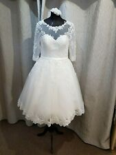 MEGA SALE BNWT Vintage Ivory Boat neck Tea Length Lace Wedding Dress UK 18