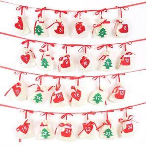 Christmas/Xmas Wreath Garland Hanging Advent Calendar New Year Gift Bag
