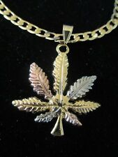 """Gold Plated TRICOLOR WEED Marijuana Leaf Pot Pendant Necklace w/24"""" LINK Chain"""