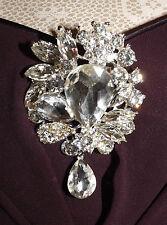 Diamante clear rhinestone silver plated brooch,bridal,maid,evening,prom (222)