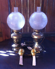 Oil Lamps Pair Dual Electric or Paraffin Brass Base Etched Glass Vintage