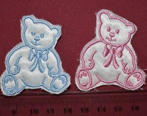1 x Teddy Bear with Bow Satin Motifs Satin Bear With Bow Applique
