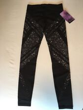 Ivivva Rhythmic Tight Black Pant Diamond Moon Reflective Sz 14 Lululemon Sz 4