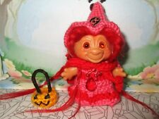 DAM TROLL WITCH 2-1/2 Unmarked in Red Hat Cape Dress Pumpkin doll 1960's vintage