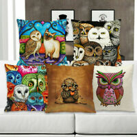 Cartoon Retro Owl Cotton Linen Pillow Case Home Decor Sofa Waist Cushion Cover