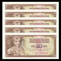 Lot 5 PCS, Yugoslavia 10 Dinara, 1968, P-82c, banknotes, UNC