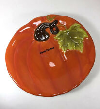 NEW Earthenware Figural Pumpkin Small Salad Cake Plate Spice Orange Thanksgiving