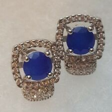BLUE SAPPHIRE earrings with white topaz accents