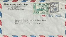 1956 Philippines cover sent from Manila to New York USA