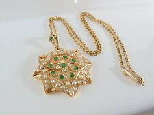 Victorian/Edwardian Tests14ct gold Emerald and pearl Pendant&chain14grams c1900