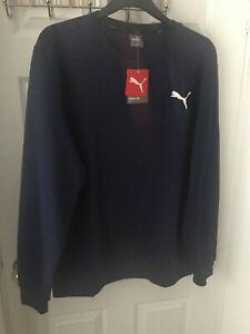 PUMA Mens Essential Sweatshirt Fleece Crew Tops Navy Regular Fit Sizes M L XL