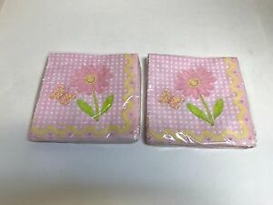 (2) SMILES & GIGGLES PINK PLAID, FLOWERS & BUTTERFLY LUNCH NAPKINS  PARTY SUPPLI