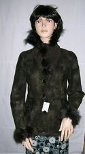 BROWN DOUBLE FACE RABBIT/SUEDE size 6-8 FUR JACKET COAT