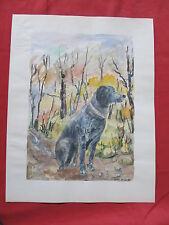 """Belle aquarelle par JEAN MICAS """" le chien de chasse en sous bois  """"   """""""