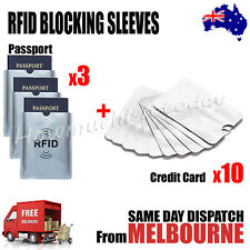 3x Passport & 10x RFID Blocking Credit Debit Card Protector Sleeve Shield Holder