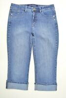 Gloria Vanderbilt Size 8 Womens PERFECT FIT Capri CUFFED Stretch Med Blue Jeans