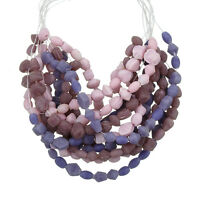 3 Strand Matte Lilac Pink & Violet Handmade Glass Chip Bead 3-7mm (H23)