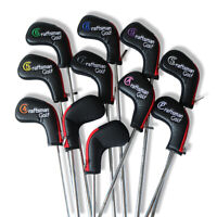 USA STOCK 11 Zipper Golf Leather Iron Headcovers Head Covers Club Black Red 4-X