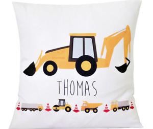 """Personalised Boy's digger - 16"""" white cushion cover boy bedroom/nursery gift"""