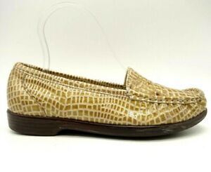 SAS Brown Cream Patent Leather Alligator Print Comfort Loafer Shoes Womens 6.5 M
