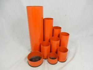 70s Design Deyhle Metall Schreibtisch Utensilo  Stifthalter pencil holder orange