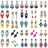 Fashion Elegant Women Rhinestone Flower Ear Stud Drop Dangle Earrings Jewelry