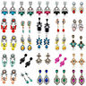 Fashion Elegant Women Rhinestone Flower Ear Stud Drop Dangle Earrings Jewelry
