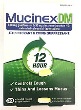 NEW - Mucinex DM 600 mg Controls Cough  - 12 Hour - 40 Tablets EXP. 02/19