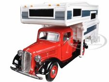 1937 FORD PICKUP TRUCK RED WITH CAMPER 1/24 BY MOTORMAX 75200
