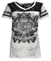 Harley-Davidson Women's Vintage Embellished Premium Lace Short Sleeve Tee, White