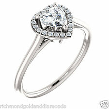 Semi Mount Setting 14k White Gold Engagement Ring for Heart Shape Solitaire Halo