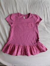 Matalan Girls Pink Short Sleeve 100% Cotton Dropped Waist Dress Size 3-4 Years