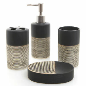 MyGift 4 Piece Modern Black and Beige Striped Ceramic Bathroom Accessory Set