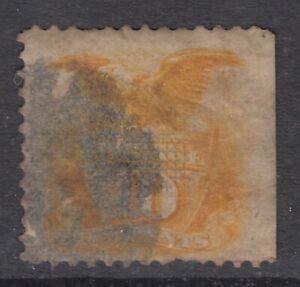 "USA Scott #116  10 cent Shield & Eagle yellow  ""G""  Grill    *"