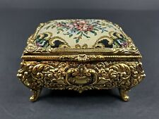 Vintage San Francisco Music Box Co 'Lara's Theme' Gold Metal Jewelry Casket EUC