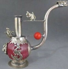 Old Handwork Tibet Silver Dragon Statue Smoking Pipe Inlay Red Jade NR