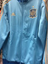 Mens Small Bright Blue / Gold Adidas Spain Track Soccer Top Full Zip  NWT