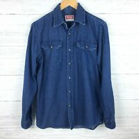 Wrangler Men's Denim Shirt Button Front Long Sleeves Dark Wash size Small