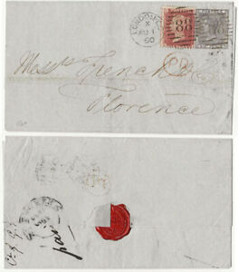 GB QV 1860 cover London to Florence Italy 1d + 6d pl. 11 attractive cover
